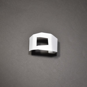 Faceted Cuff - Pierced, Narrow, Matte White