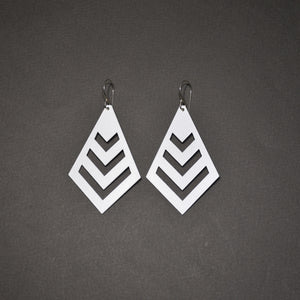 Chevron Earrings - Matte White
