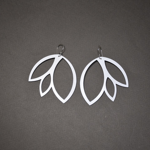 Leaf Earrings - Large, Matte White