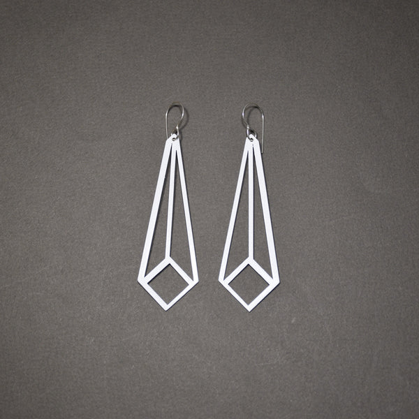 Angled Square Earrings - Matte White