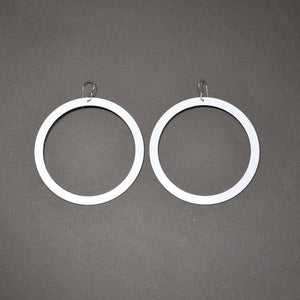 Bangle Earrings - Wide, Matte White