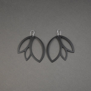 Leaf Earrings - Large, Matte Black