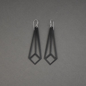 Angled Square Earrings - Matte Black