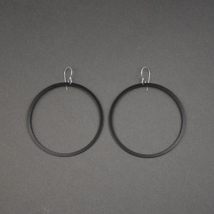 Bangle Earrings - Narrow, Matte Black