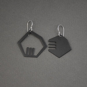 +/- Earrings - Small, Matte Black