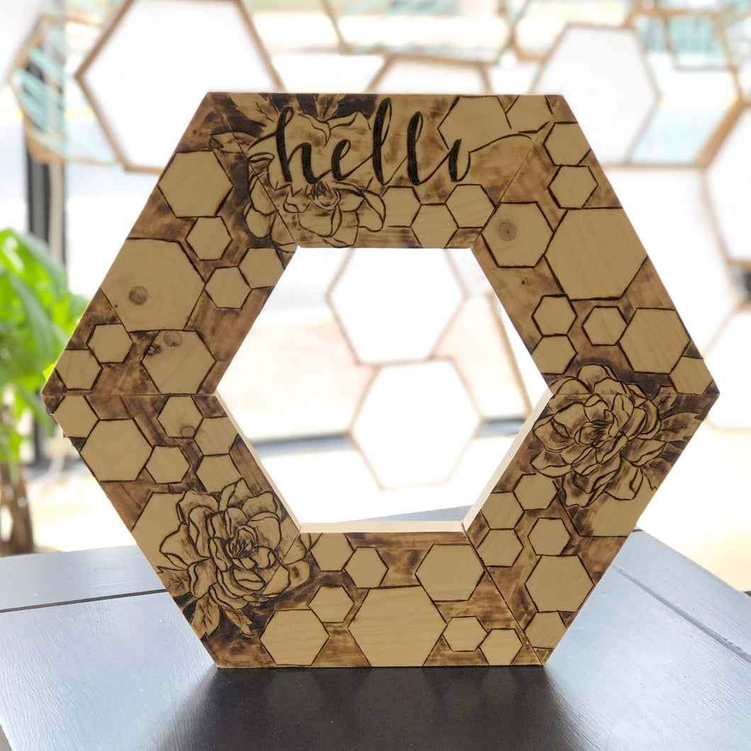 DIY Hexagon Wreath Wood Burning