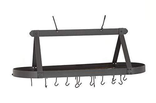 Old Dutch Oval Hanging Pot Rack with Grid & 24 Hooks, Satin Nickel, 48 x 19 x 15.5