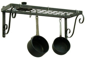 Enclume Decor Bookshelf Wall Pot Rack, Hammered Steel