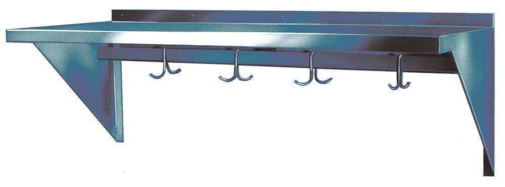 Winholt SSWMSH124 Fabricated Wall Mounted Stainless Steel Shelves with Pot Hooks, 12