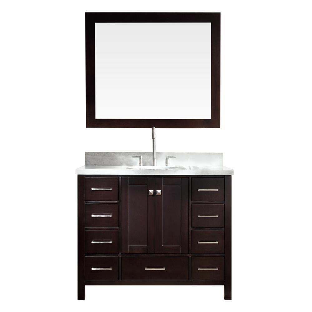 Order now ariel cambridge a043s esp 43 single sink solid wood bathroom vanity set in espresso with white carrara marble countertop