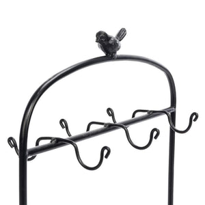 Budget festnight metal kitchen dish coffee mug cup holder with 6 hooks bird cage shape meal tray holder display rack organizer stand for table counter cabinet 20 9 x 12 2 x 6 7 l x w x h black