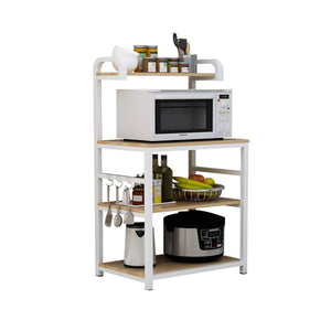 New shelf microwave oven storage rack kitchen tableware shelves counter and cabinet 4 layer white color white size 132cm