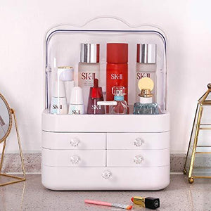 Related sooyee makeup organizer modern jewelry and cosmetic storage display boxes with handle waterproof dustproof design great for bathroom dresser vanity and countertop5 white drawers 2 clear lids