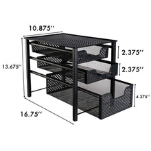 Storage organizer stackable 3 tier organizer baskets with mesh sliding drawers ideal cabinet countertop pantry under the sink and desktop organizer for bathroom kitchen office