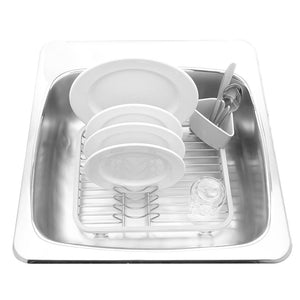 Explore umbra sinkin dish drying rack dish drainer kitchen sink caddy with removable cutlery holder fits in sink or on countertop white