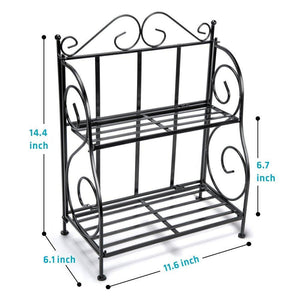 Discover the spice rack ispecle 2 tier foldable shelf rack kitchen bathroom countertop 2 tier standing storage organizer spice jars bottle shelf holder rack black