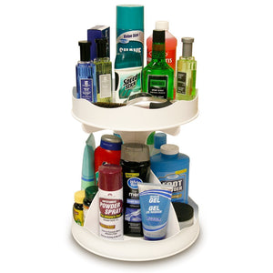 Shop here cosmetic organizer for tall bottles that spins no more cluttered countertop pretty in white goes with any decor proudly made in the usa by ppm
