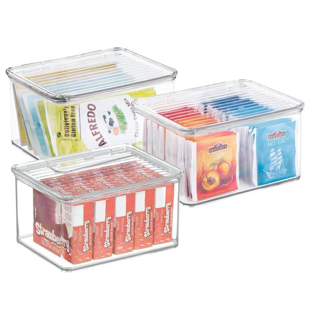 mDesign Stackable Kitchen Pantry Cabinet or Refrigerator Storage Bin with Attached Hinged Lid - Compact Food Storage Organizer for Coffee, Tea and Food Packets, Snacks - BPA Free, Pack of 3, Clear