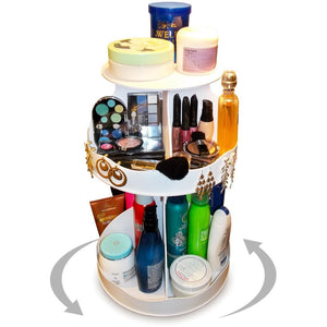 Discover the best cosmetic organizer that spins 3 levels of storage in only 12 of countertop no more clutter pretty in white goes with any decor great gift item proudly made in the usa by ppm