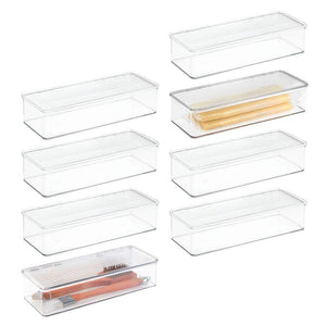 mDesign Stackable Kitchen Pantry Cabinet/Refrigerator Food Storage Container Bin, Attached Lid - Organizer for Packets, Snacks, Produce, Pasta - BPA Free, Food Safe, 8 Pack - Clear