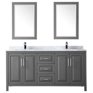 Discover the wyndham collection daria 72 inch double bathroom vanity in dark gray white carrara marble countertop undermount square sinks and 24 inch mirrors