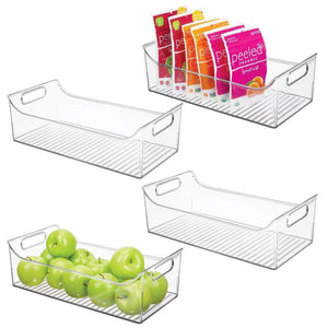"mDesign Wide Plastic Kitchen Pantry Cabinet, Refrigerator or Freezer Food Storage Bin with Handles - Organizer for Fruit, Yogurt, Snacks, Pasta - BPA Free, 16"" Long, 4 Pack - Clear"