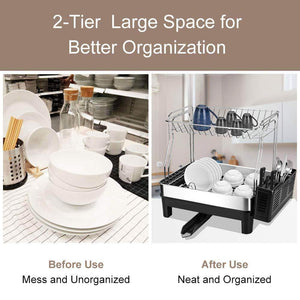 Top rated kedsum rust proof stainless dish rack 2 tier detachable dish drying rack with removable utensil holder dish drainer with 360 degrees adjustable swivel spout for kitchen counter