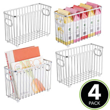 Discover mdesign metal farmhouse kitchen pantry food storage organizer basket bin wire grid design for cabinets cupboards shelves countertops holds potatoes onions fruit small 4 pack chrome