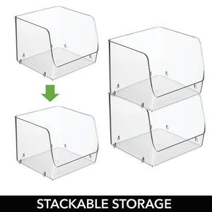 On amazon mdesign large stackable plastic bathroom storage organizer bin basket with wide open front for vanity countertops cabinets closets under sinks cube 7 75 wide 4 pack clear