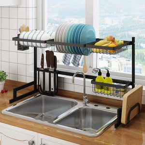 Shop here stainless steel black dish drying rack over kitchen sink dishes and utensils draining shelf kitchen storage countertop organizer utensils holder kitchen space saver for sink 32 5inch