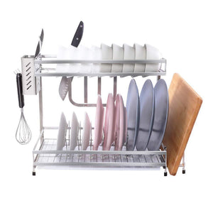 Try 304 stainless steel dish dryer rack cutting board holder and kitchen dish drainer for kitchen counter top silver 17 3x6 1x13 5inch