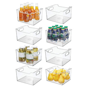 "mDesign Plastic Kitchen Pantry Cabinet, Refrigerator or Freezer Food Storage Bin Box - Deep Container with Handles - Organizer for Fruit, Vegetables, Yogurt, Snacks, Pasta 10"" Long, 8 Pack - Clear"