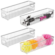 Kitchen mdesign metal bathroom storage organizer basket bin farmhouse grid design organization for cabinets shelves closets vanity countertops bedrooms under sink x long container 4 pack chrome
