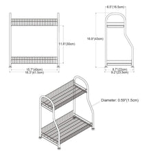 Products junyuan kitchen spice racks 2 tier bathroom shelf kitchen countertop storage organizer jars bottle seasoning rack shelf holder space saving high capacity mesh wire stainless steel