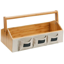 Try g u s bamboo countertop vanity organizer for makeup toiletries shampoos with portable handle and set of 3 bins 15 75 wide