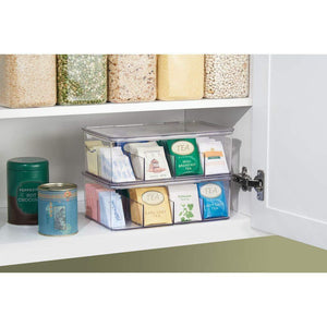 Select nice mdesign stackable plastic tea bag holder storage bin box for kitchen cabinets countertops pantry organizer holds beverage bags cups pods packets condiment accessories 4 pack clear