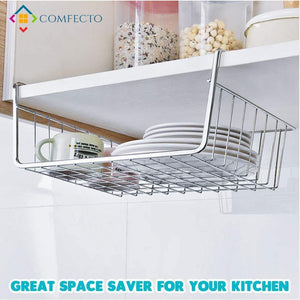 Shop here 4pcs 15 8 under shelf basket storage wire rack organizer for cabinet thickness max 1 2 inch extra storage space on kitchen counter pantry desk bookshelf cupboard anti rust stainless steel rack