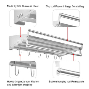 Homelifairy Pot And Pan Towel Rack Bathroom Shelf Organizer Stainless Steel Mounted Microwave Wall Shelf With 6 Hooks Multi-Purpose Organizer for Home, Restaurant, Bathroom,Kitchen (23.5inx 11.5in)