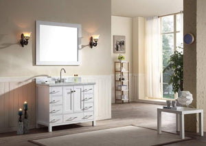 Amazon best ariel cambridge a043s wht 43 single sink solid wood bathroom vanity set in grey with white 1 5 carrara marble countertop