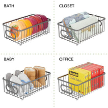 Top mdesign metal farmhouse kitchen pantry food storage organizer basket bin wire grid design for cabinet cupboard shelves countertop closet bedroom bathroom small wide 4 pack graphite gray
