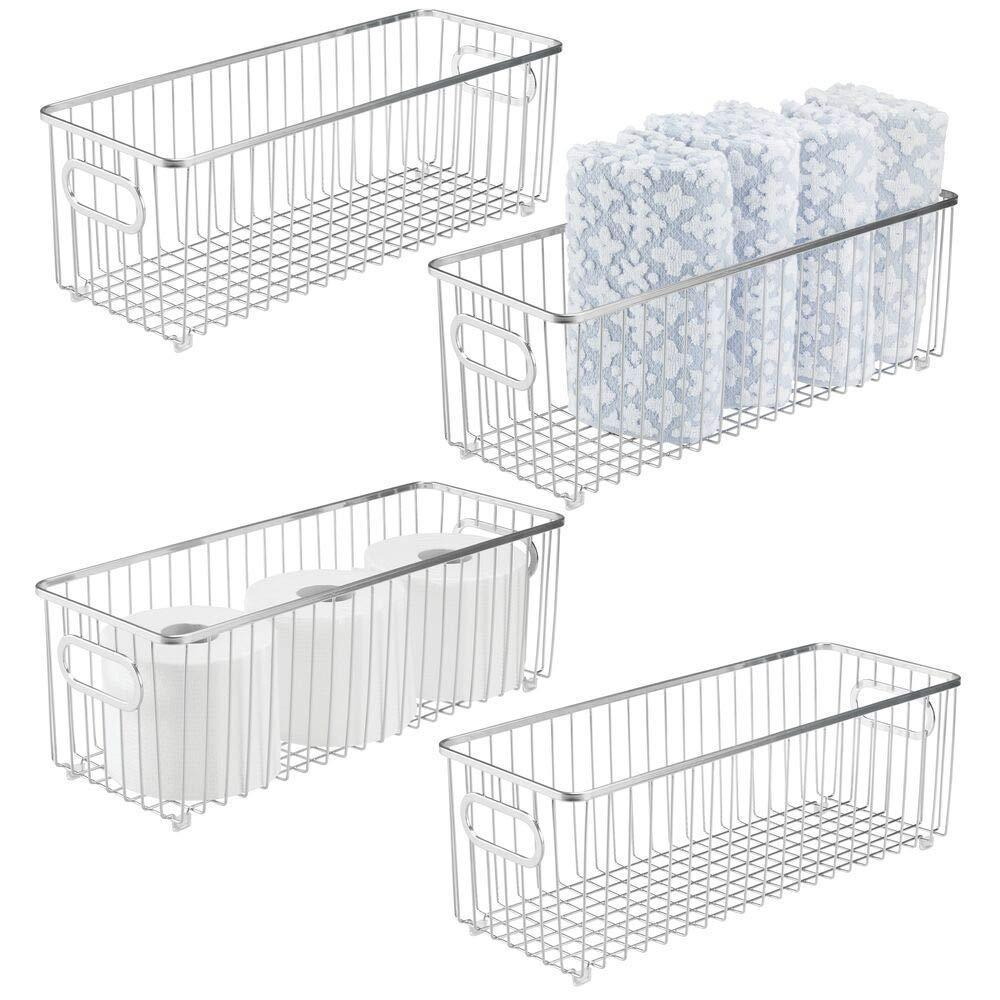 Discover the best mdesign deep metal bathroom storage organizer basket bin farmhouse wire grid design for cabinets shelves closets vanity countertops bedrooms under sinks 4 pack chrome