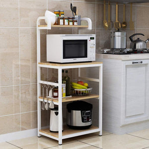 Online shopping shelf microwave oven storage rack kitchen tableware shelves counter and cabinet 4 layer white color white size 132cm