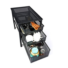 Storage stackable 3 tier organizer baskets with mesh sliding drawers ideal cabinet countertop pantry under the sink and desktop organizer for bathroom kitchen office