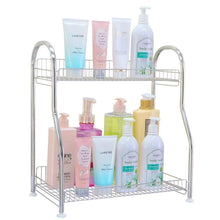 Results junyuan kitchen spice racks 2 tier bathroom shelf kitchen countertop storage organizer jars bottle seasoning rack shelf holder space saving high capacity mesh wire stainless steel