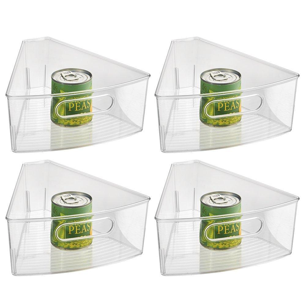 Amazon best interdesign plastic lazy susan cabinet storage bin 1 8 wedge container for kitchen pantry counter bpa free 10 25 x 9 5 x 4 set of 4 clear