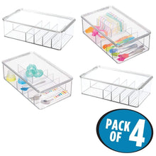 Featured mdesign stackable plastic storage organizer container for kitchen cabinets pantry countertops holds kids child toddler mealtime sets small accessories 6 sections bpa free 4 pack clear