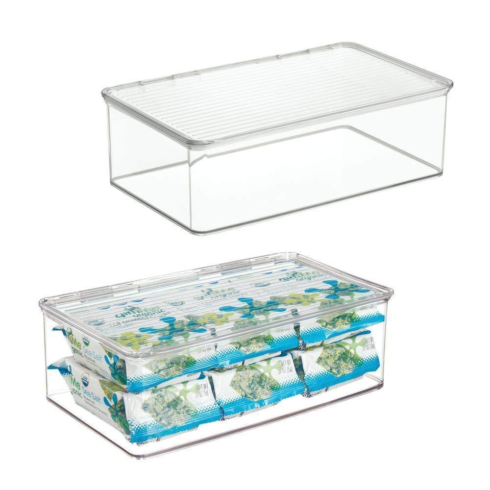 mDesign Stackable Kitchen Pantry Cabinet or Refrigerator Storage Bin with Attached Hinged Lid � Compact Storage Organizer for Coffee, Tea and Food Packets, Snacks � BPA Free, Pack of 2, Clear