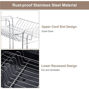 Amazon kedsum rust proof stainless dish rack 2 tier detachable dish drying rack with removable utensil holder dish drainer with 360 degrees adjustable swivel spout for kitchen counter
