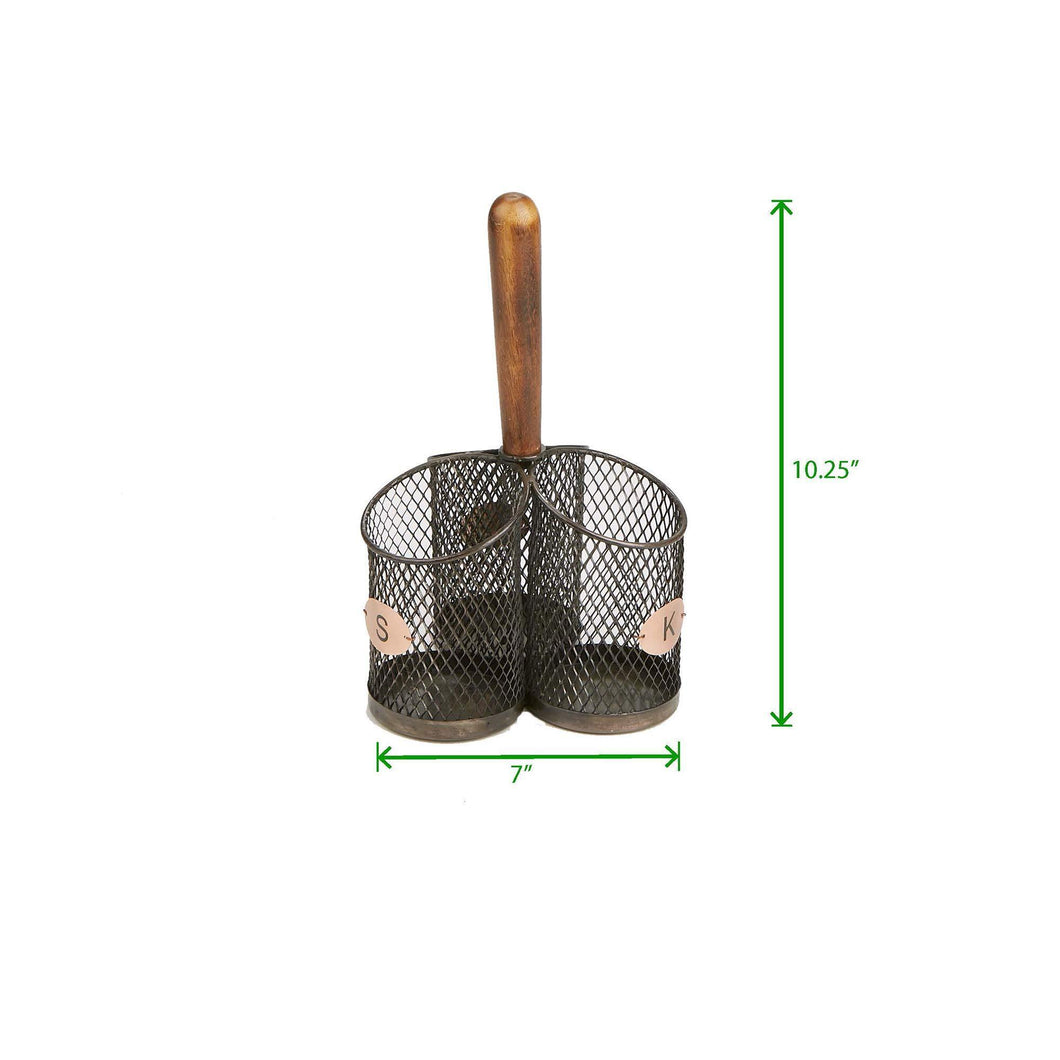 Heavy duty mind reader 3wcadut brn wood 3 section utensil caddy cutlery holder flatware silverware organizer forks spoons knives dining table countertops kitchen brown one size black mesh