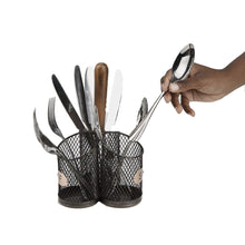 Kitchen mind reader 3wcadut brn wood 3 section utensil caddy cutlery holder flatware silverware organizer forks spoons knives dining table countertops kitchen brown one size black mesh